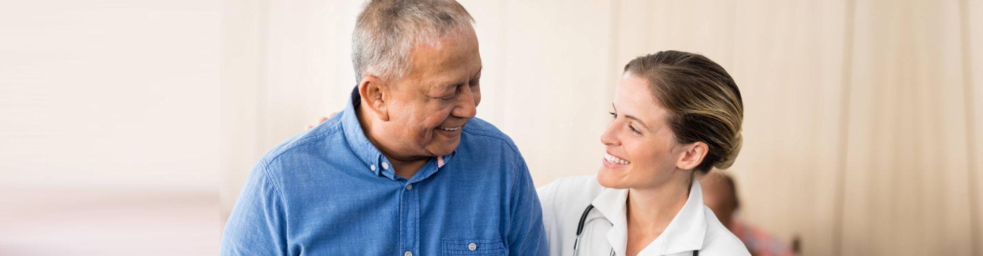 healthcare professional with senior